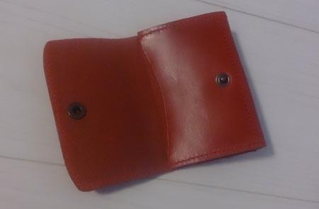本革の小銭入れ付きパスケース パスケース側の写真