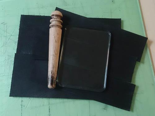 コバ磨き ガラス板 革製品