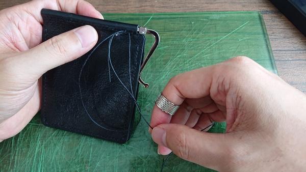 麻糸の縫い終わり 輪っかを作る