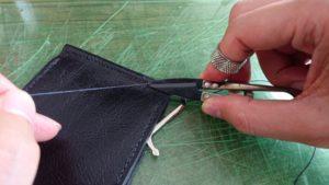 縫い終わりの方法 – 麻糸の始末